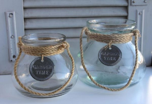 Windlicht Dekoglas Vase - KLEIN U GROSS BLUE COTTAGE