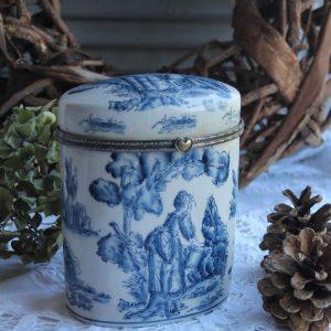 alte Dose aus Delfter Porzellan Blue Cottage