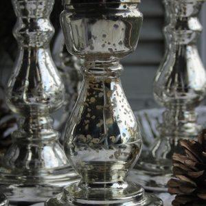 Kerzenhalter in Bauernsilber mit Schliff mittel hoch niedrig Chic Antique Blue Cottage