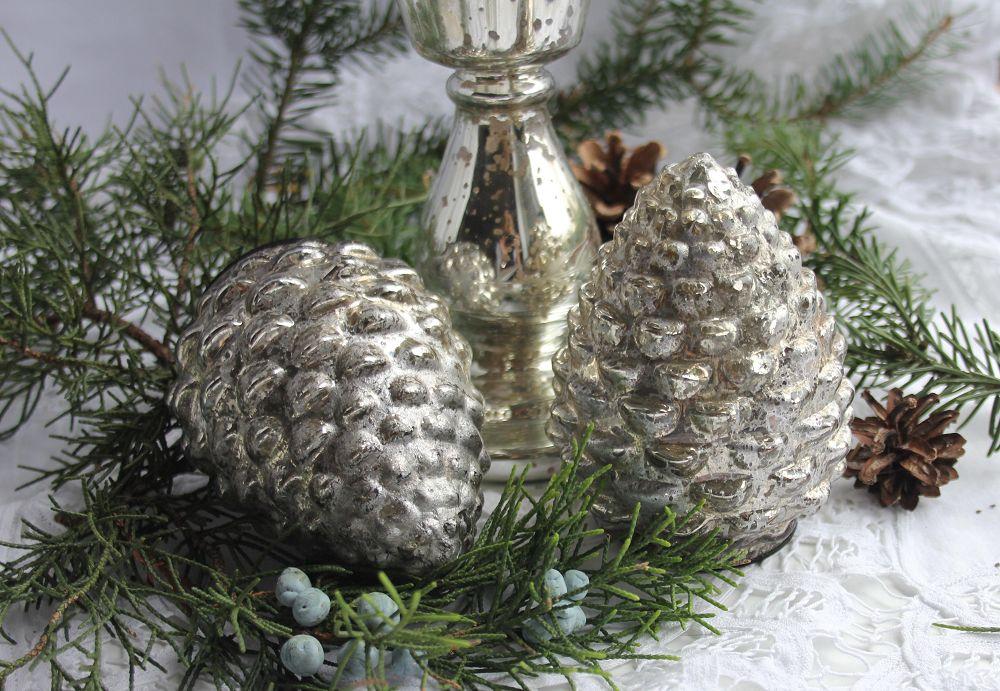 SALE 25 /% Brocante Zapfen Glas Silber Shabby Bauernsilber Tannenzapfen