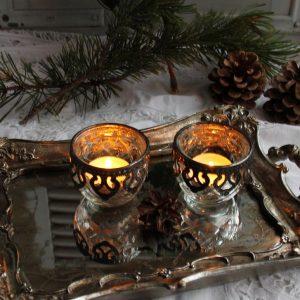 Teelichthalter Chic Antique mit Metalleinfassung Antiksilberdecor BLUE COTTAGE