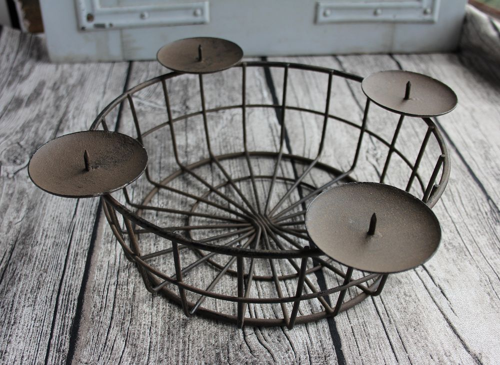advents korb aus metall dunkel gro blue cottage shop. Black Bedroom Furniture Sets. Home Design Ideas