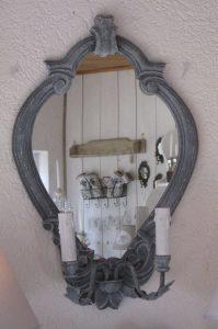 Spiegel mit Beleuchtung grau BLUE COTTAGE