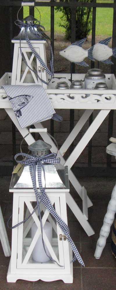Laterne Holz weiß BLUE COTTAGE