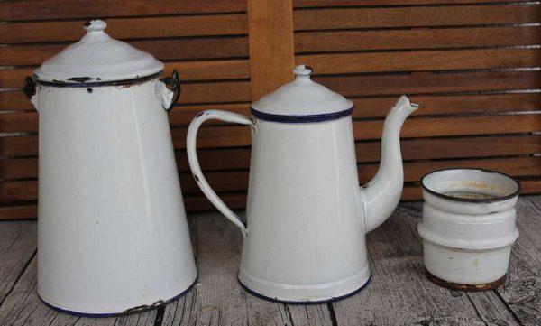 SET Kaffeekanne Milchkanne Emaille (groß) BLUE COTTAGE