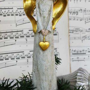 Engelfigur mit Herz gold BLUE COTTAGE