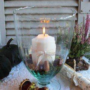 bezaubernde Vase Windlicht auf Fuß BLUE COTTAGE