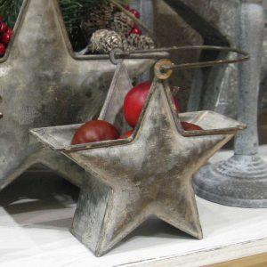 Sternenkorb aus Zink in Shabby Chic KLEIN - BLUE COTTAGE