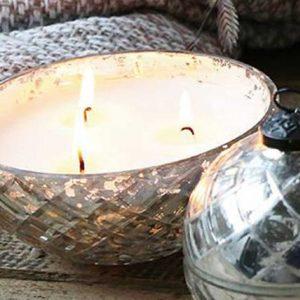 Bauernsilber-Kugel mit Kerze und Diamantschliff BLUE COTTAGE