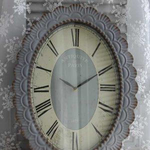 große shabby Uhr aus graublauem Metall BLUE COTTAGE