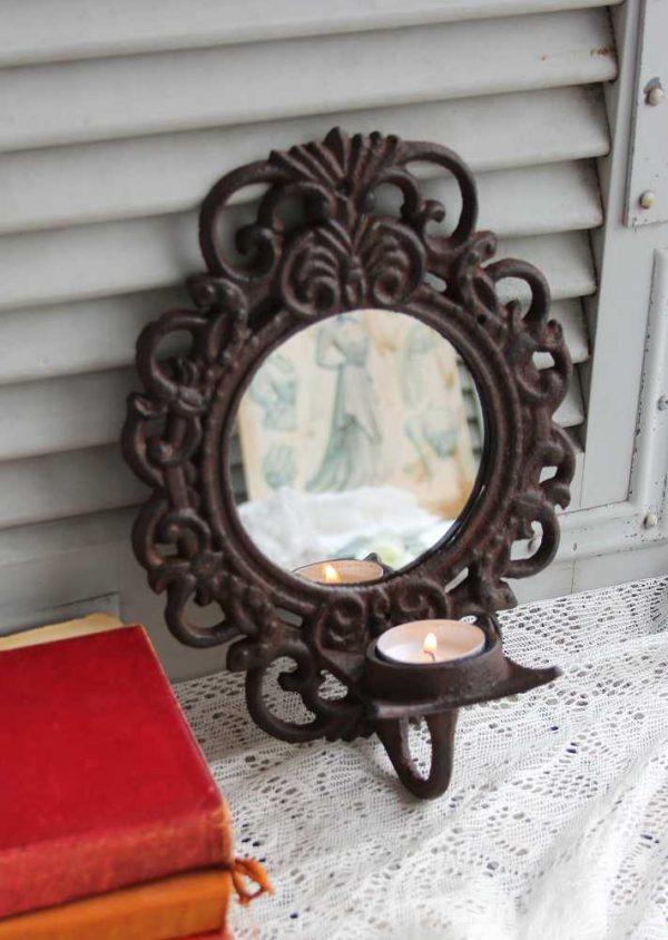 alter Kerzenhalter Spiegel aus Gusseisen BLUE COTTAGE