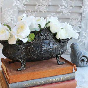 antike französische Jardiniere schwarzes Metall BLUE COTTAGE