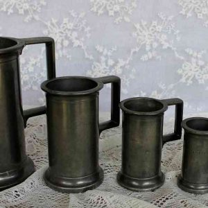Set 5 uralte Messbecher Zinn Frankreich BLUE COTTAGE