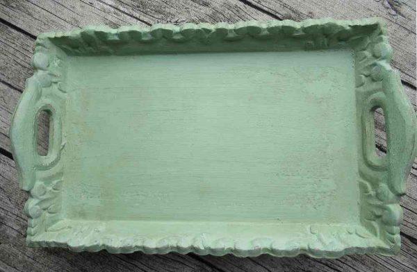 bezauberndes kleines Tablett in antikgrün BLUE COTTAGE