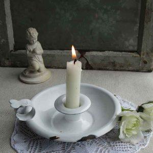alter Kerzenhalter Emaille Belgien BLUE COTTAGE