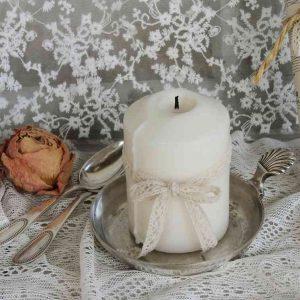 kleiner alter Kerzenständer, Schale versilbert BLUE COTTAGE