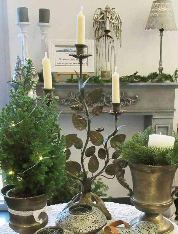großer Kerzenständer mit Blättern 3-armig Metall BLUE COTTAGE