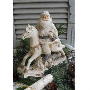 Weihnachtsmann auf Schaukelpferd BLUE COTTAGE