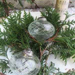 Christbaumkugel Glas mit Schliff 2-er-Set BLUE COTTAGE