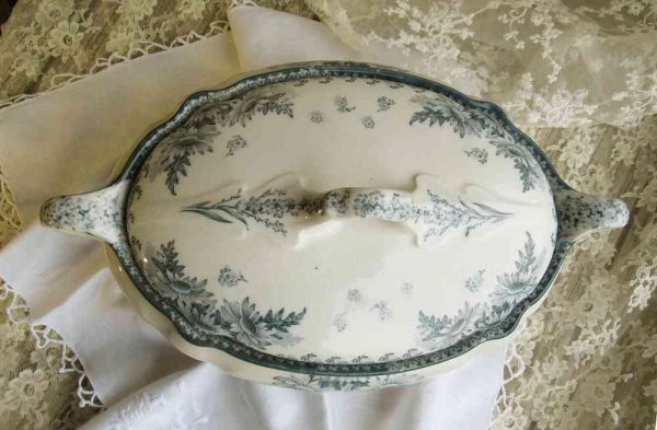 antike ovale Terrine m. Deckel 'WALLERFANGEN' Villeroy & Boch BLUE COTTAGE