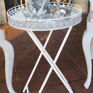 zierlicher Tablett-Tisch aus Metall shabby BLUE COTTAGE