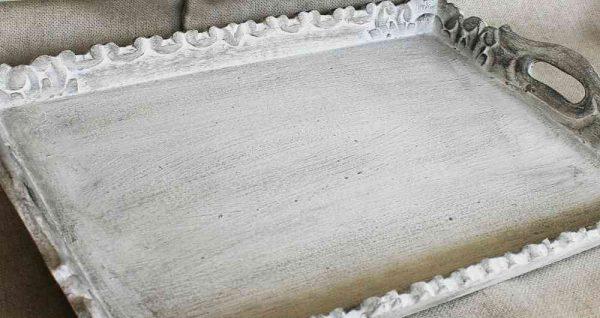 großes Tablett in weiß-grau shabby BLUE COTTAGE