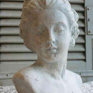 kleine französische Büste aus Zement BLUE COTTAGE