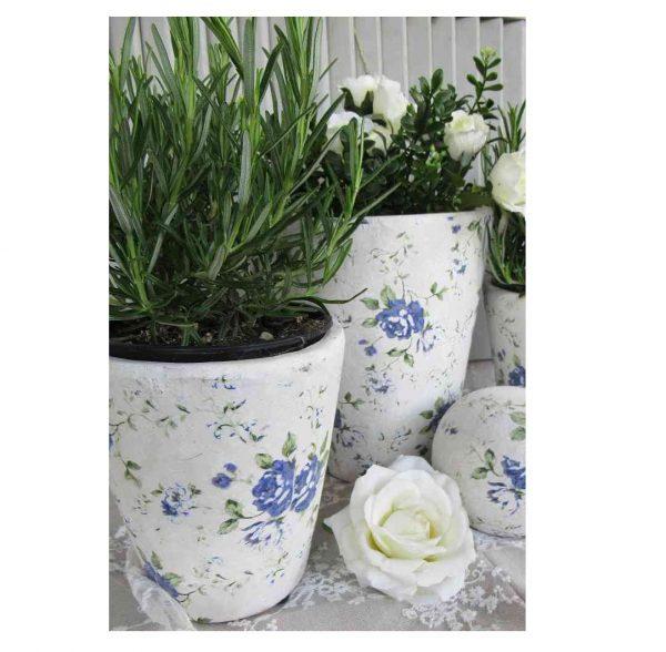 2-er-SET Übertöpfe Pflanztöpfe Keramik KONISCH - BLUE COTTAGE