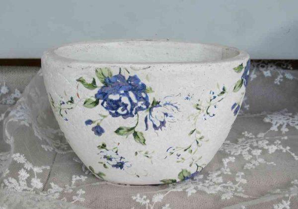 2-er-SET Übertöpfe Pflanztöpfe Keramik OVAL - BLUE COTTAGE