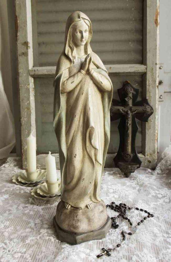 Madonna Maria-Figur mit Antik-Finish BLUE COTTAGE