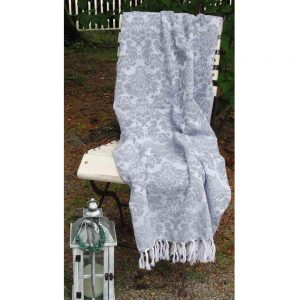 gewebtes Plaid, Decke 'Ornament' GRAU - BLUE COTTAGE