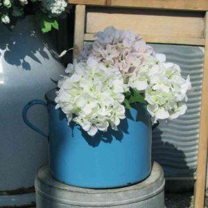 grosser alter Emaille Topf seltene Farbe BLUE COTTAGE