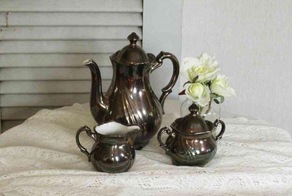 Mokkaset Kaffeeset antik Porzellan versilbert BLUE COTTAGE