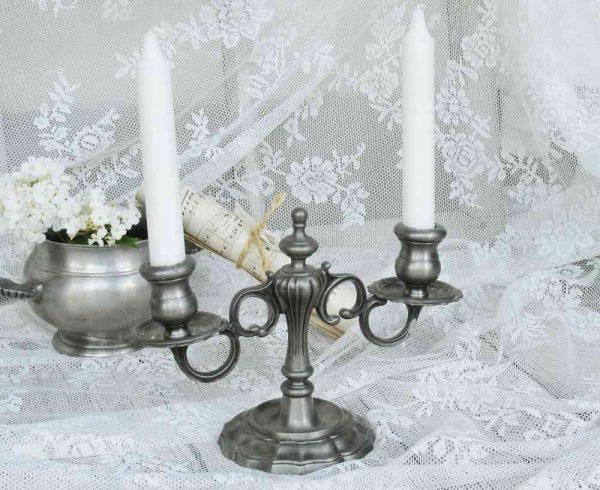 alter Kerzenleuchter 2-armig Zinn BLUE COTTAGE