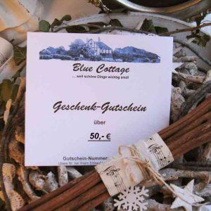 BLUE COTTAGE Geschenkgutschein 50 €
