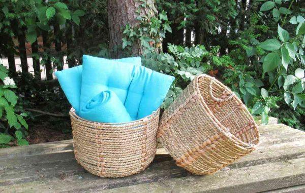 toller Korb aus Wasserhyazinthe Terrassenkorb BLUE COTTAGE