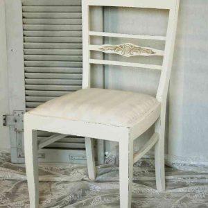 eleganter alter Polsterstuhl Stuhl Massivholz BLUE COTTAGE
