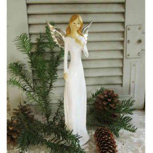 zierliche Engelfigur weiß mit Flügeln BLUE COTTAGE