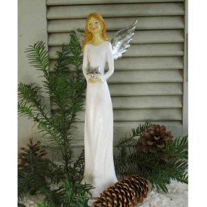 zierliche Engelfigur weiß mit Flügeln und Stern BLUE COTTAGE
